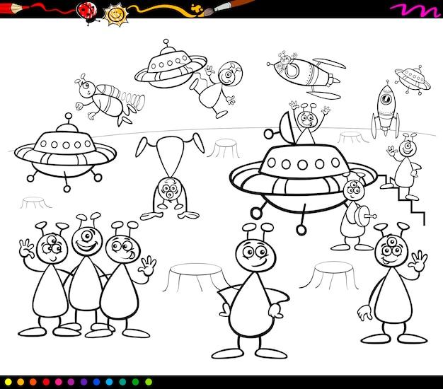 Dibujos animados de alienígenas para colorear | Descargar Vectores ...