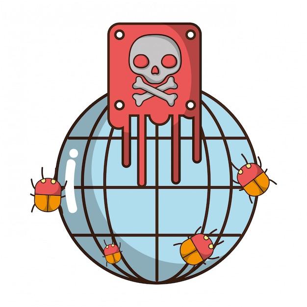Dibujos animados de amenaza de ciberseguridad Vector Premium