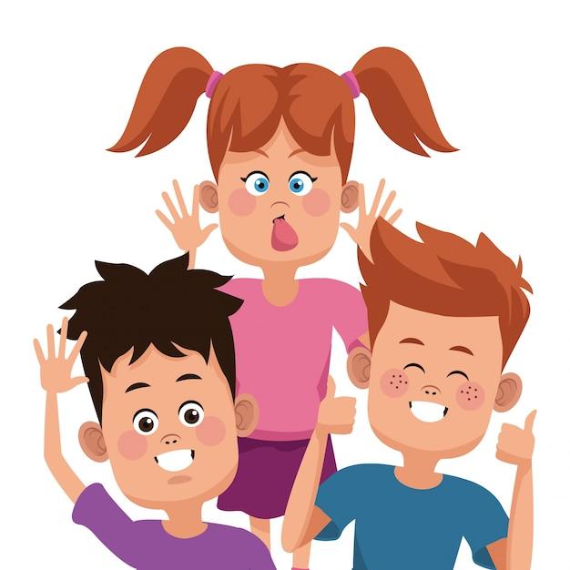 Dibujos animados de amigos de niños | Vector Premium