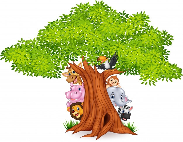 Arbol Con Ramas Animado: Dibujos Animados De Animales Africanos Con árbol