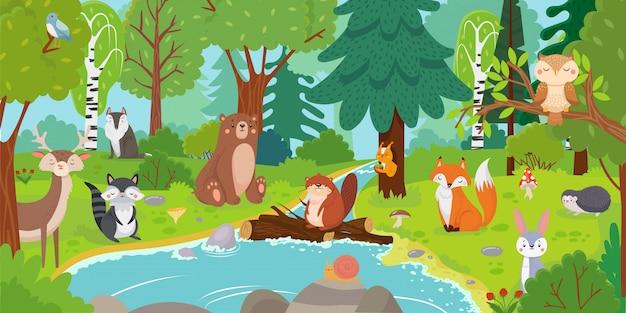 Dibujos animados de animales del bosque. oso salvaje, ardilla divertida y pájaros lindos en los árboles de los árboles niños vector ilustración de fondo Vector Premium