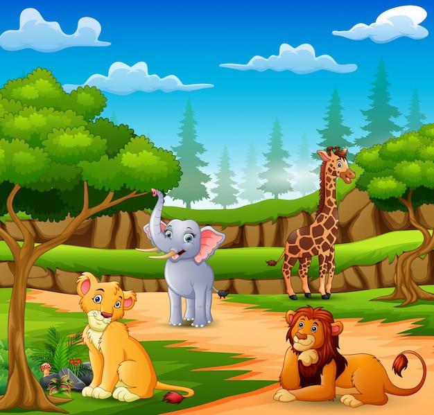 Dibujos animados de animales felices en la escena de la naturaleza Vector Premium