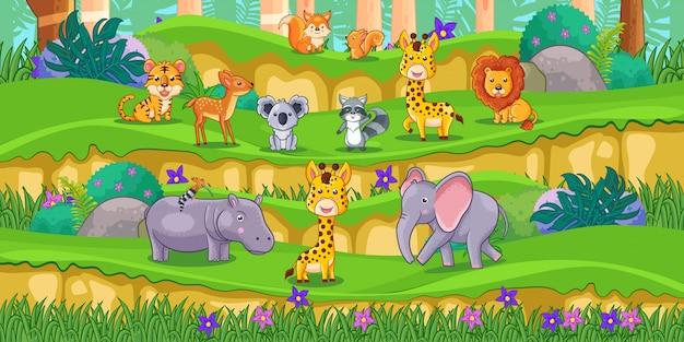 Dibujos animados de animales felices en el parque con plantas verdes Vector Premium