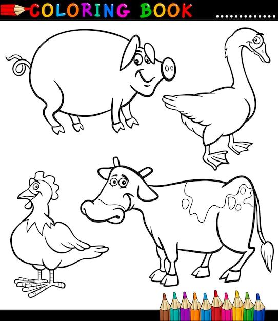 Dibujos Animados De Animales De Granja Para Colorear Libro Vector
