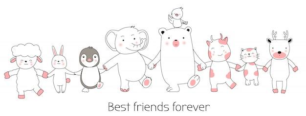 Dibujos animados de animales lindos dibujados a mano. Vector Premium