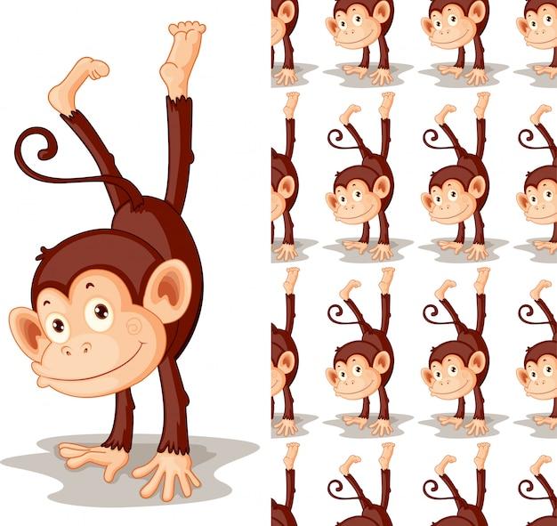 Dibujos animados de animales mono aislado vector gratuito