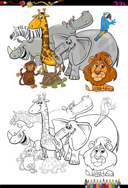 Dibujos Animados Animales De Safari Para Colorear Vector