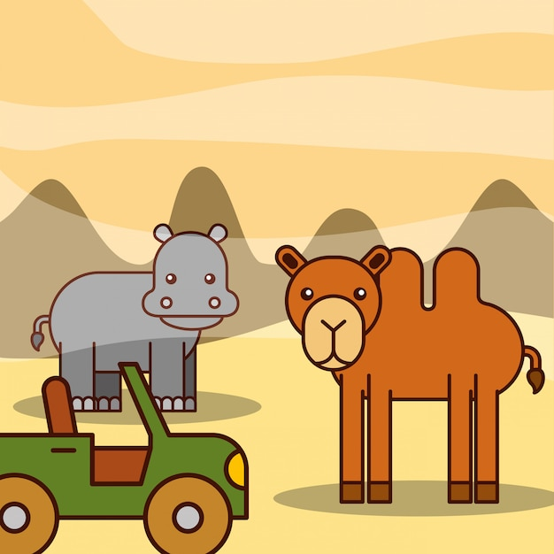 Dibujos animados de animales de safari Vector Premium