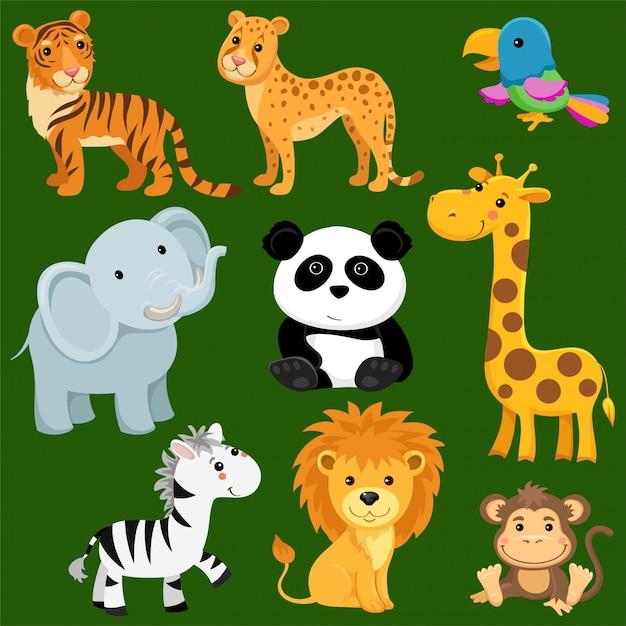 Dibujos animados de animales salvajes de sabana y desierto ...