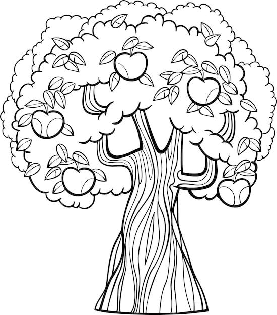 Dibujos Animados De árbol De Manzana Para Colorear Libro Descargar