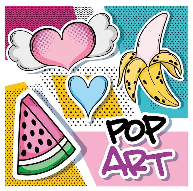 Dibujos Animados De Arte Pop Con Plátanos Y Mensaje De Amor