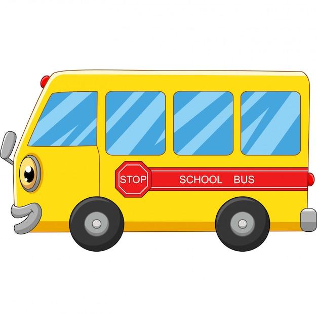 Dibujos animados de autobús escolar amarillo sobre blanco Vector Premium