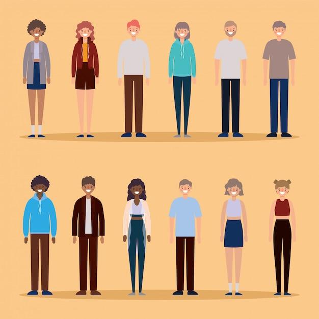 Dibujos animados de avatares de mujeres y hombres sonriendo sobre fondo naranja diseño, persona personas y tema humano. Vector Premium