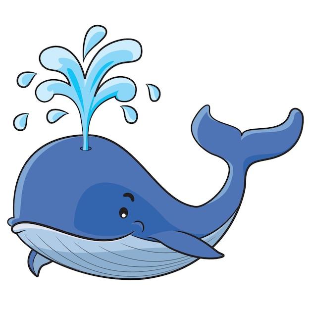 Dibujos animados de ballena Vector Premium