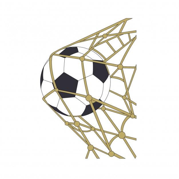 Dibujos animados de balón de fútbol en gol  4b3688c833316