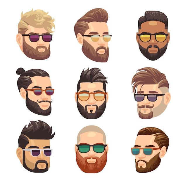 Dibujos animados barbudo hipster hombre y hombre peinado conjunto Vector Premium
