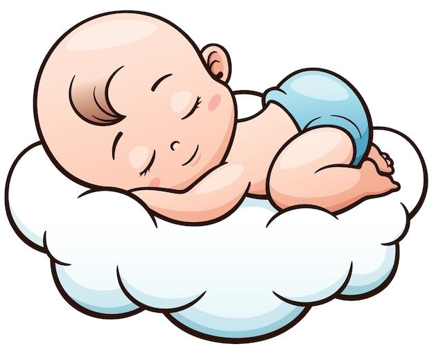 Dibujo De Un Bebe A Color: Dibujos Animados Bebé Durmiendo En Una Nube