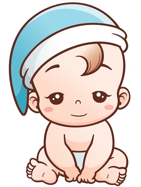 Dibujos Animados Bebé Soñoliento Vector Premium