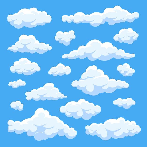 Dibujos animados blancos mullidos nubes en conjunto de vectores de cielo azul Vector Premium