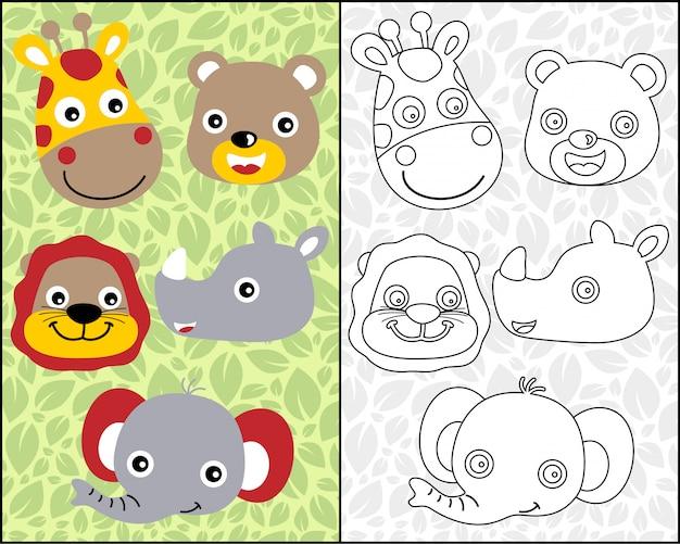 Dibujos animados de cabeza de animales agradables en libro para ...