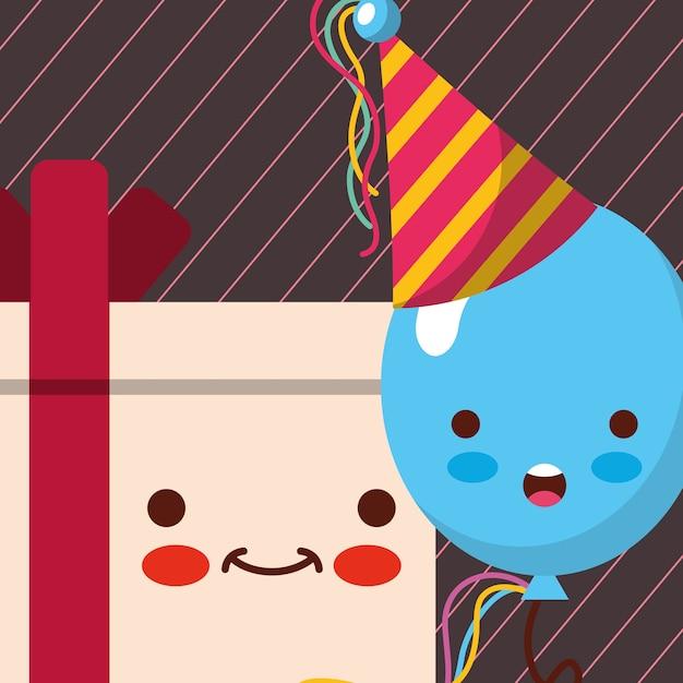 Dibujos animados de caja de regalo kawaii y globo azul con sombrero ... 289628461af