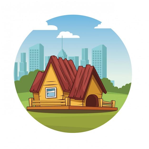 Dibujos Animados De Casa De Madera Descargar Vectores Premium