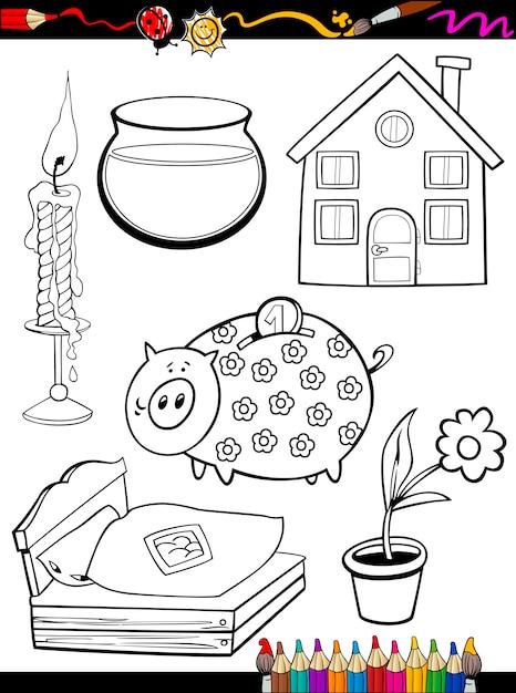 Dibujos animados casa objetos para colorear página | Descargar ...
