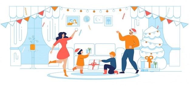 Dibujos animados de celebración familiar de navidad y año nuevo Vector Premium