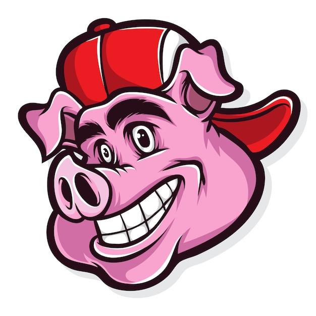 Dibujos animados de cerdo funky Vector Premium