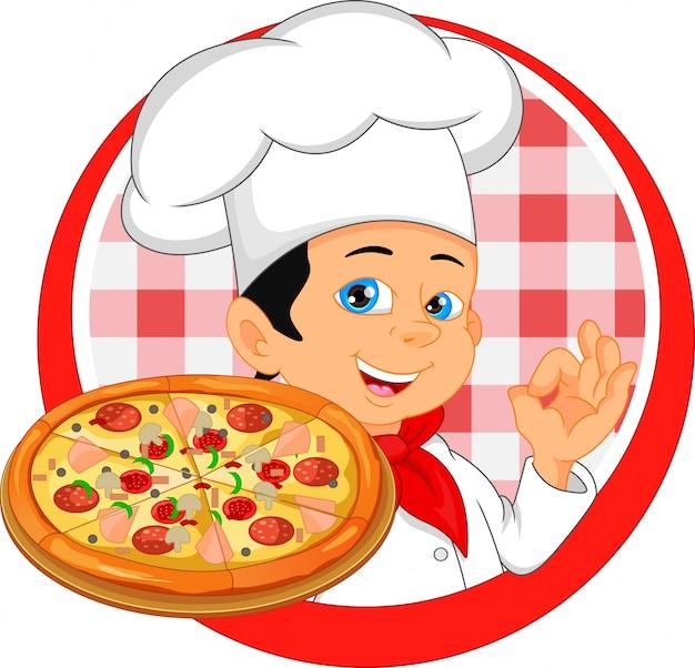 Dibujos Animados De Chef De Niño Con Pizza Vector Premium