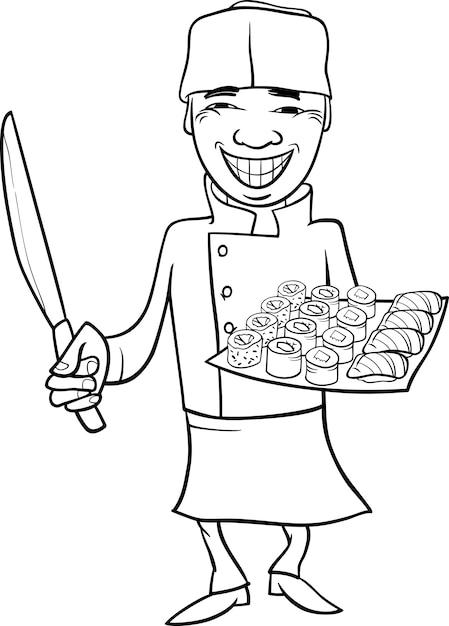 Dibujos animados de chef de sushi de japón para colorear | Descargar ...