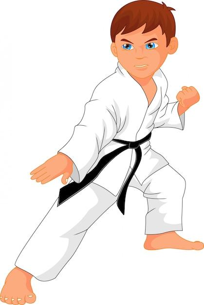Dibujos animados de chico de karate Vector Premium