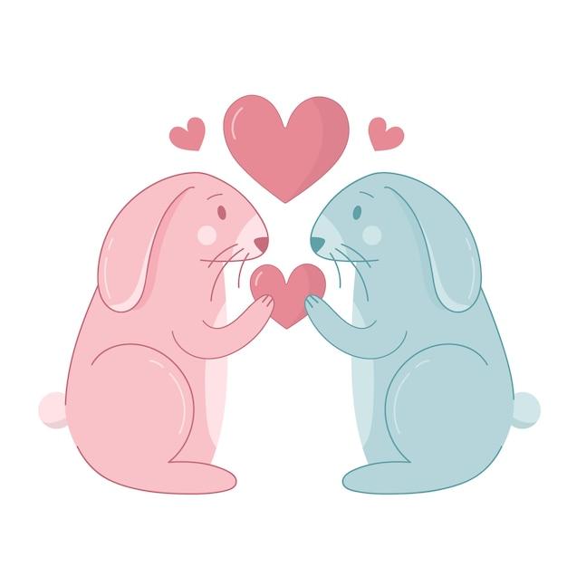 Dibujos animados de conejo para pareja de san valentín vector gratuito