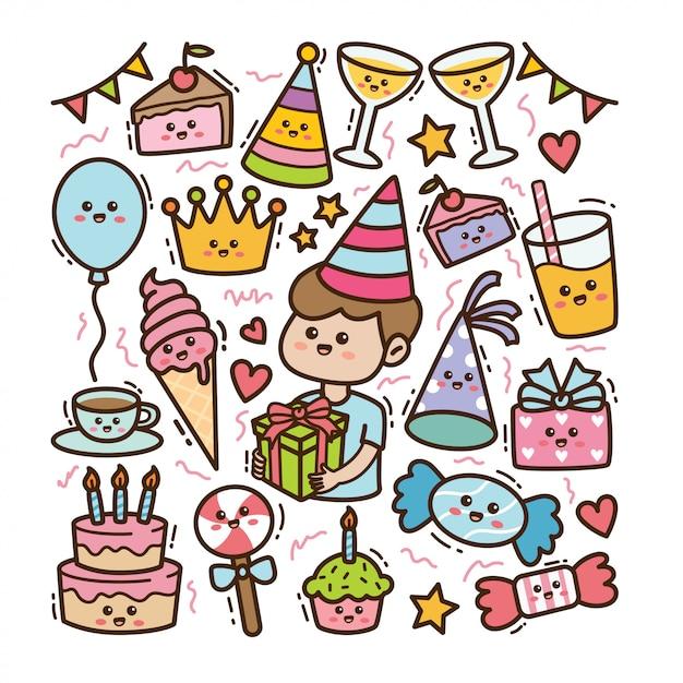 Dibujos animados de cumpleaños y elementos de fiesta en kawaii doodle ilustración Vector Premium