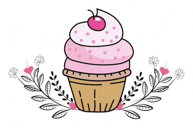Dibujos animados de cupcake de panadería Vector Premium