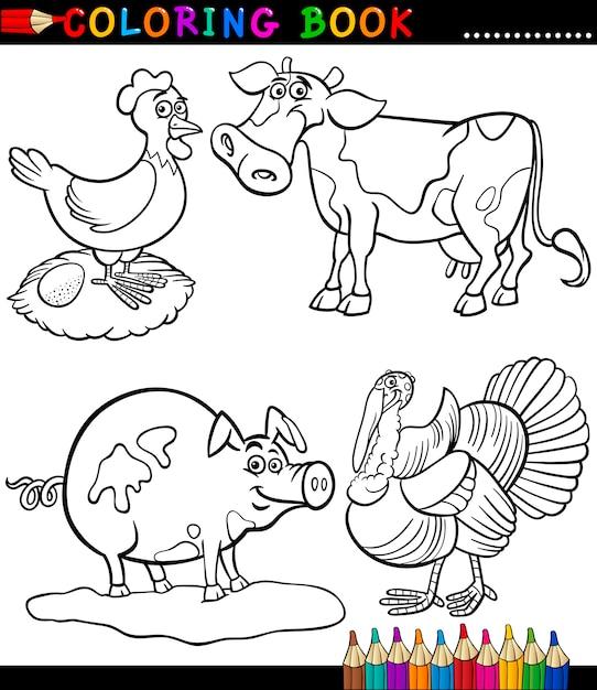 Dibujos animados de animales de granja para colorear libro ...