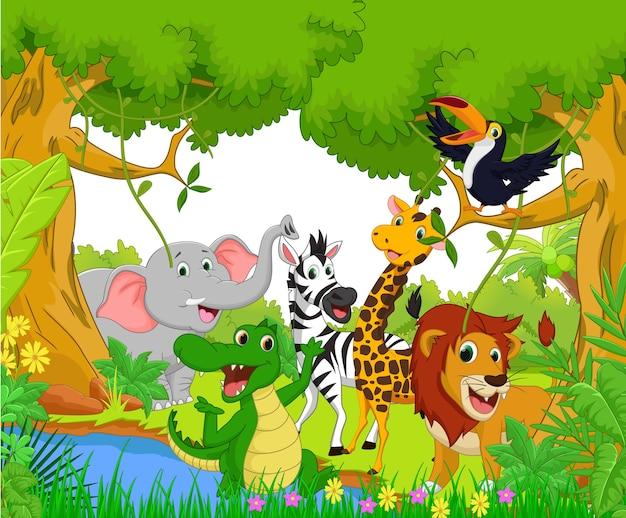 Dibujos Animados De Animales En La Jungla