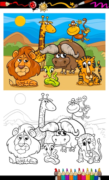 Dibujos animados de animales salvajes para colorear | Descargar ...