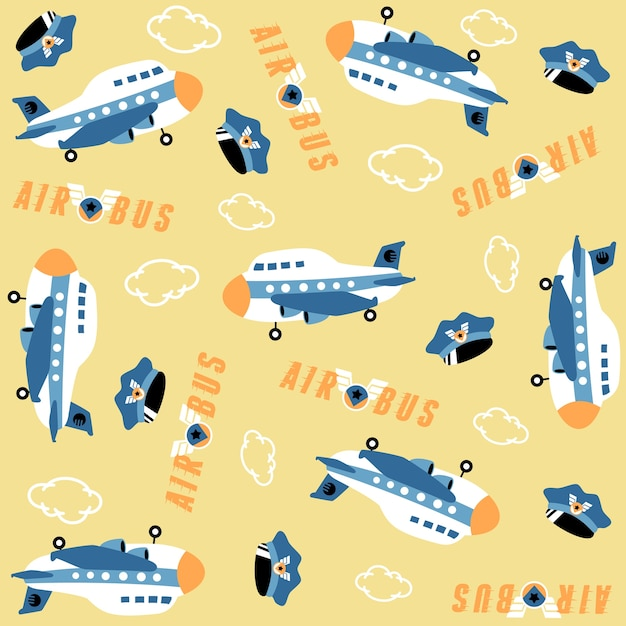 Dibujos animados de avión con sombrero piloto, logotipo de la ...