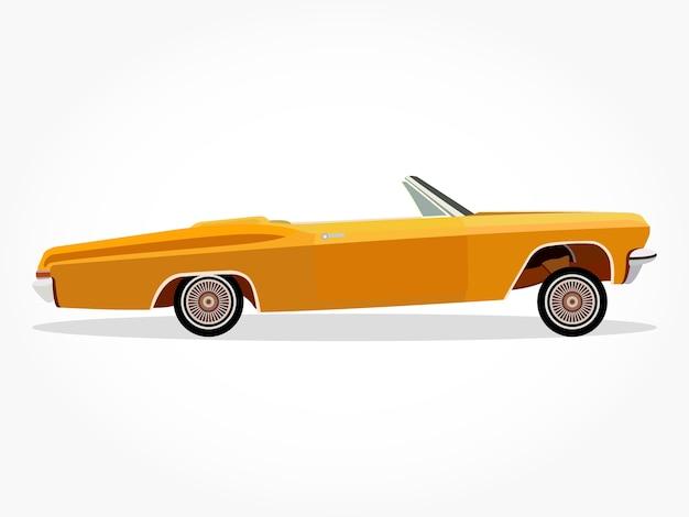 Dibujos animados de coche baja naranja con detalles laterales y ...