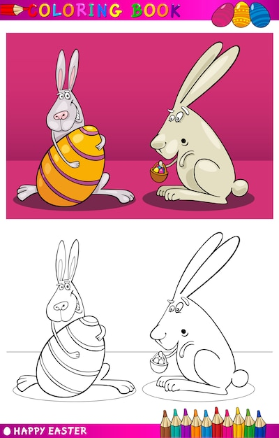 Dibujos animados de conejo de pascua para colorear | Descargar ...