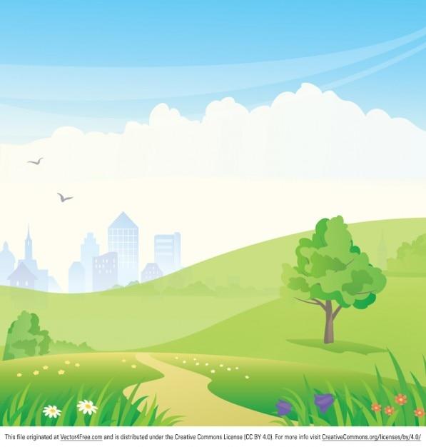 Dibujos animados de fondo del paisaje del parque for Fondos animados gratis
