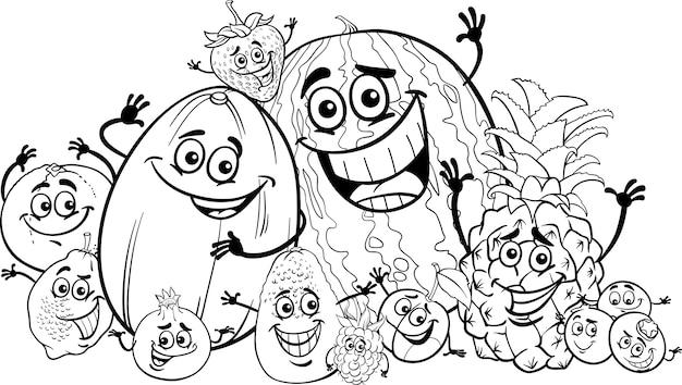 Dibujos animados de frutas divertidas para colorear libro ...