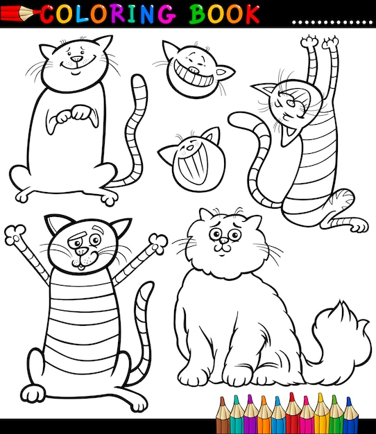 Dibujos animados de gatos o gatitos para colorear página | Descargar ...