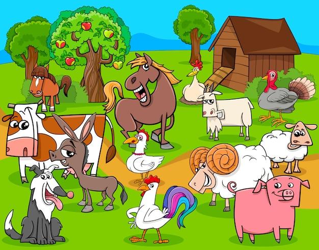 Dibujos animados de grupo animales granja