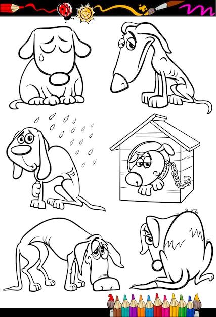 Dibujos animados de grupo de perros tristes para colorear ...