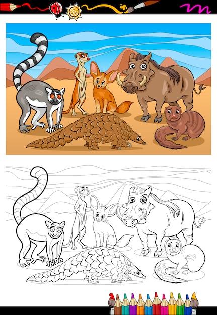 Dibujos animados de mamíferos africanos para colorear libro ...