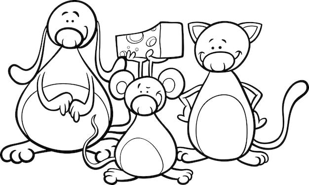 Dibujos animados de mascotas lindas para colorear | Descargar ...