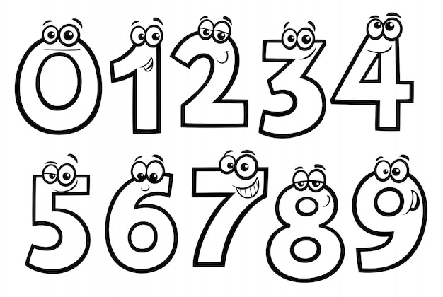 Dibujo Del Numero 1 Para Colorear: Dibujos Animados De Números Básicos Para Colorear Libro
