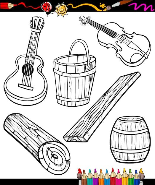 Dibujos animados de objetos para colorear | Descargar Vectores Premium